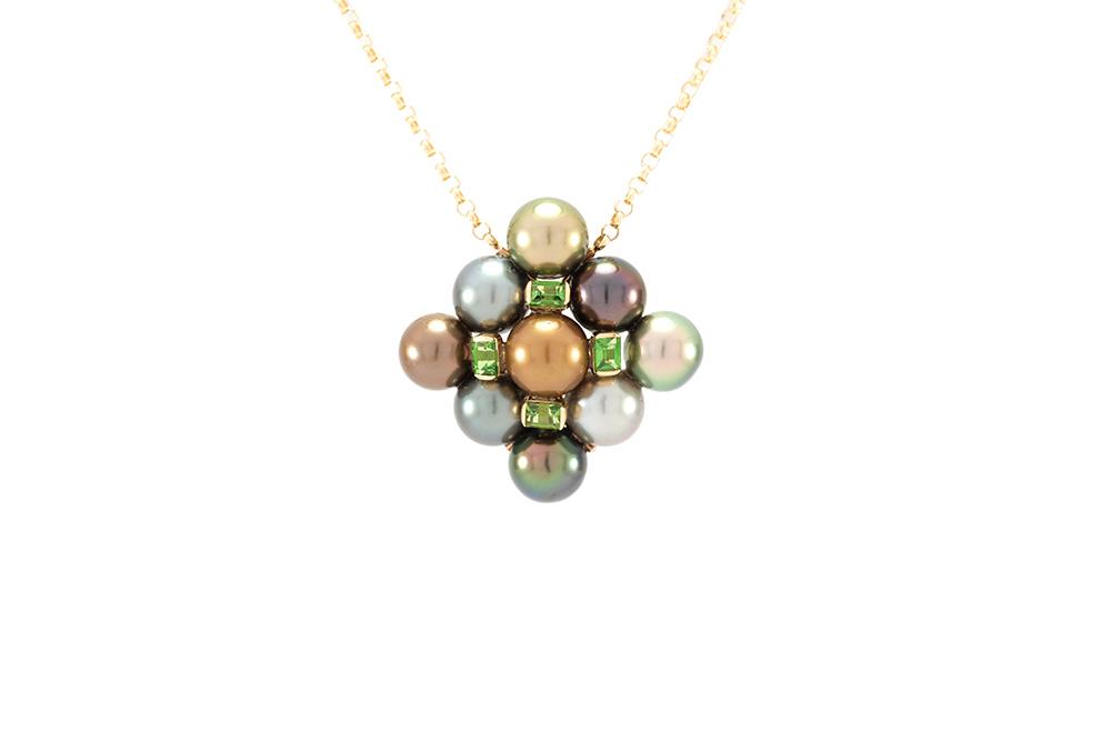 Pendentif Inca, Or, perles et Tsavorites 1