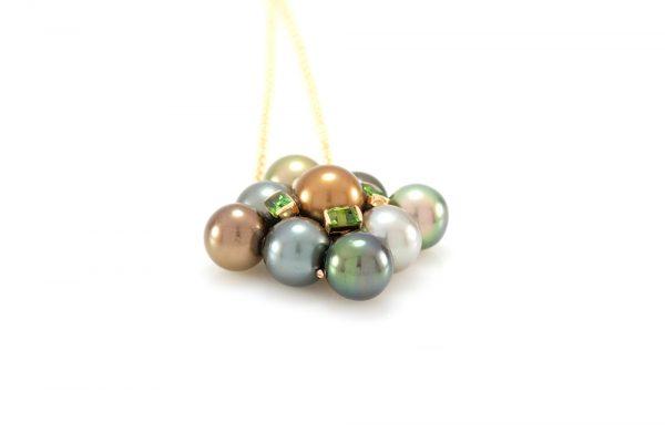 Pendentif Inca, Or, perles et Tsavorites 3