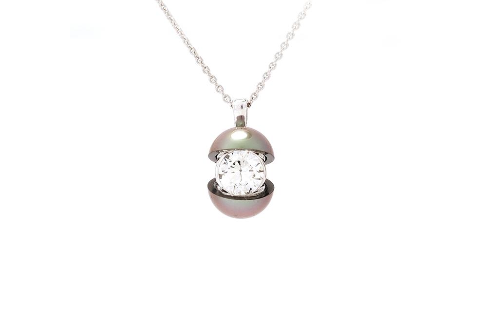 Pendentif Secret, Perle et Diamant 1