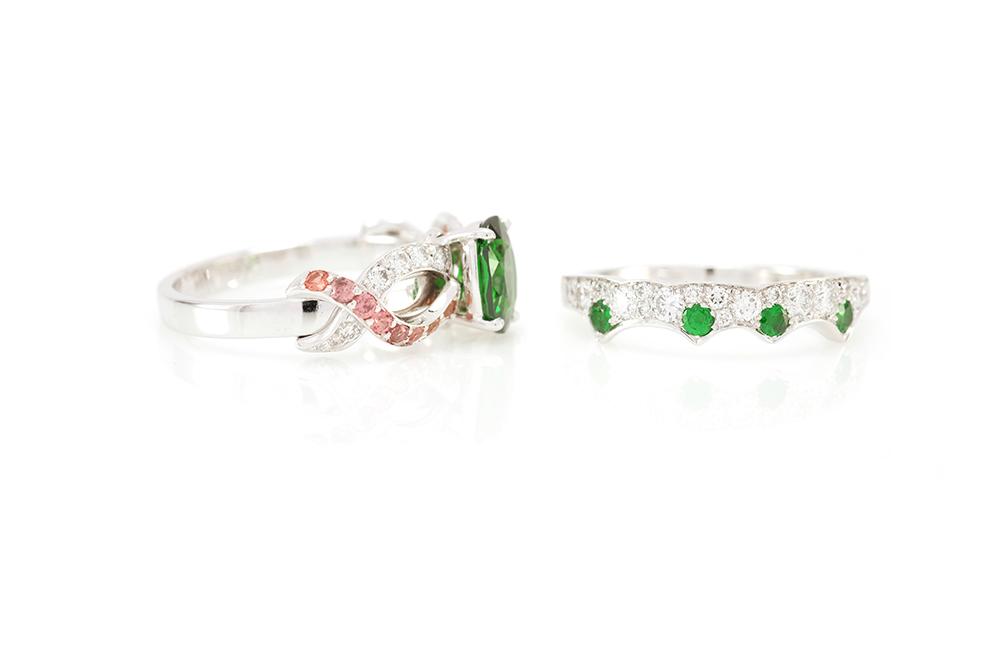 Bague Chlorophylle, or blanc diamants et tsavorite 11