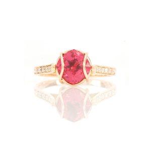 Bague Ellipse, or rouge, diamants, perle et rubellite 1