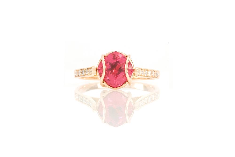 Bague Elipse, or rouge, diamants, perle et rubellite 1