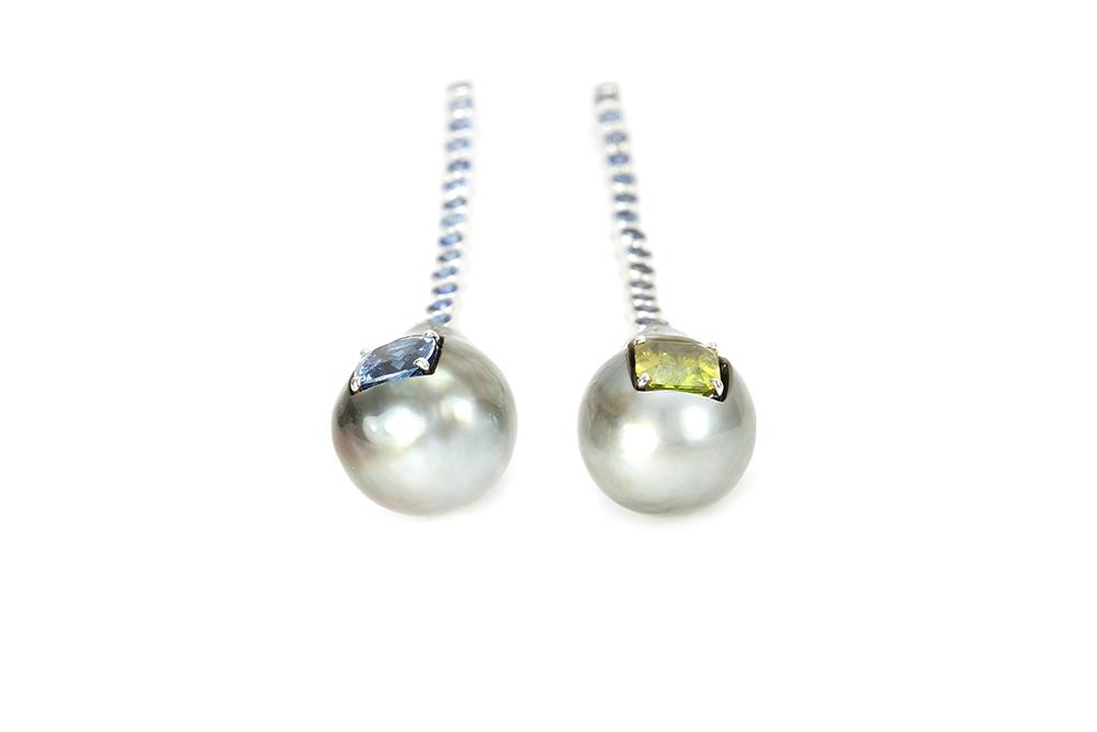 Boucles d'oreilles Fémina, or pierres et perles 2