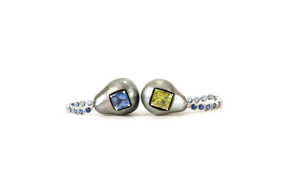 Boucles d'oreilles Fémina, or pierres et perles 5