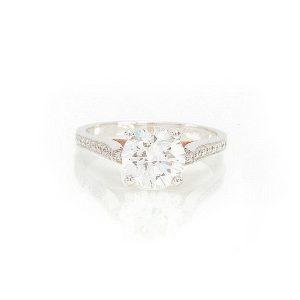 Solitaire Destin, or blanc et diamants 1