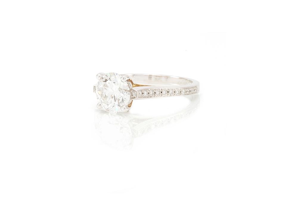 Solitaire Destin, or blanc et diamants 2