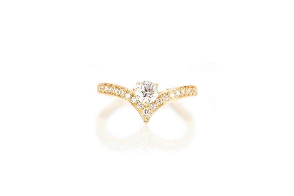 Solitaire Diadème, or jaune et diamants 1