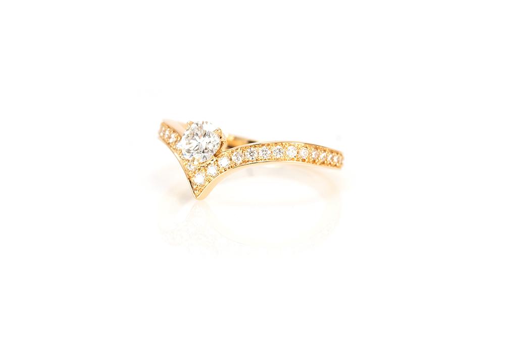 Solitaire Diadème, or jaune et diamants 2