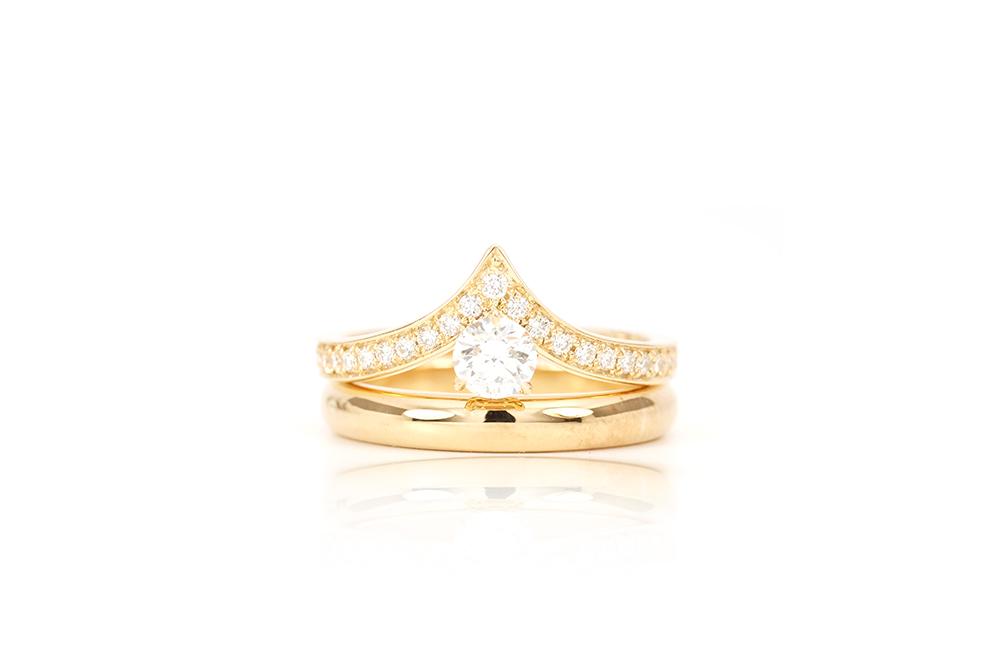 Solitaire Diadème, or jaune et diamants 3