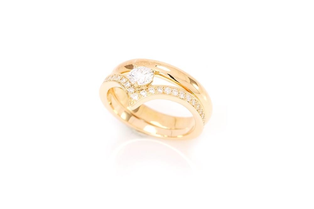 Solitaire Diadème, or jaune et diamants 4