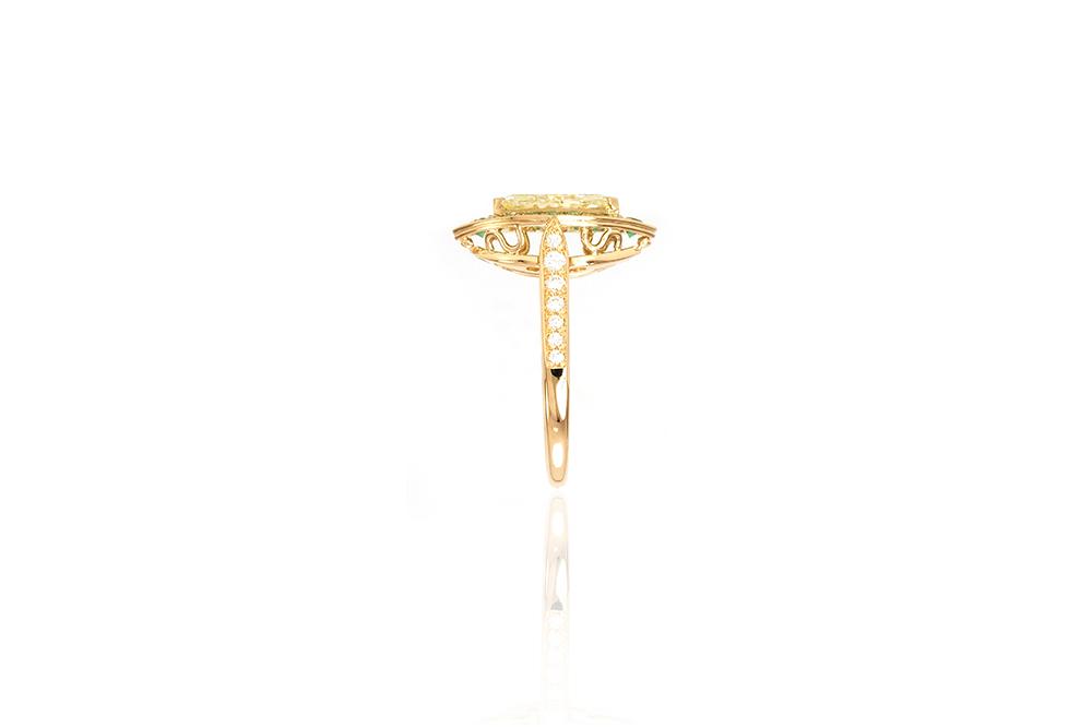 Bague Promesse, Or jaune 18k, Diamants et Émeraudes 2