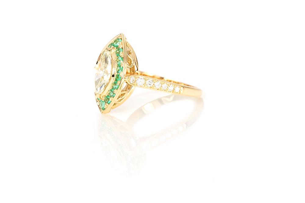 Bague Promesse, Or jaune 18k, Diamants et Émeraudes 5