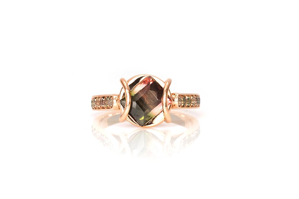 Bague Ellipse, or rouge, diamants, perle et tourmaline 1