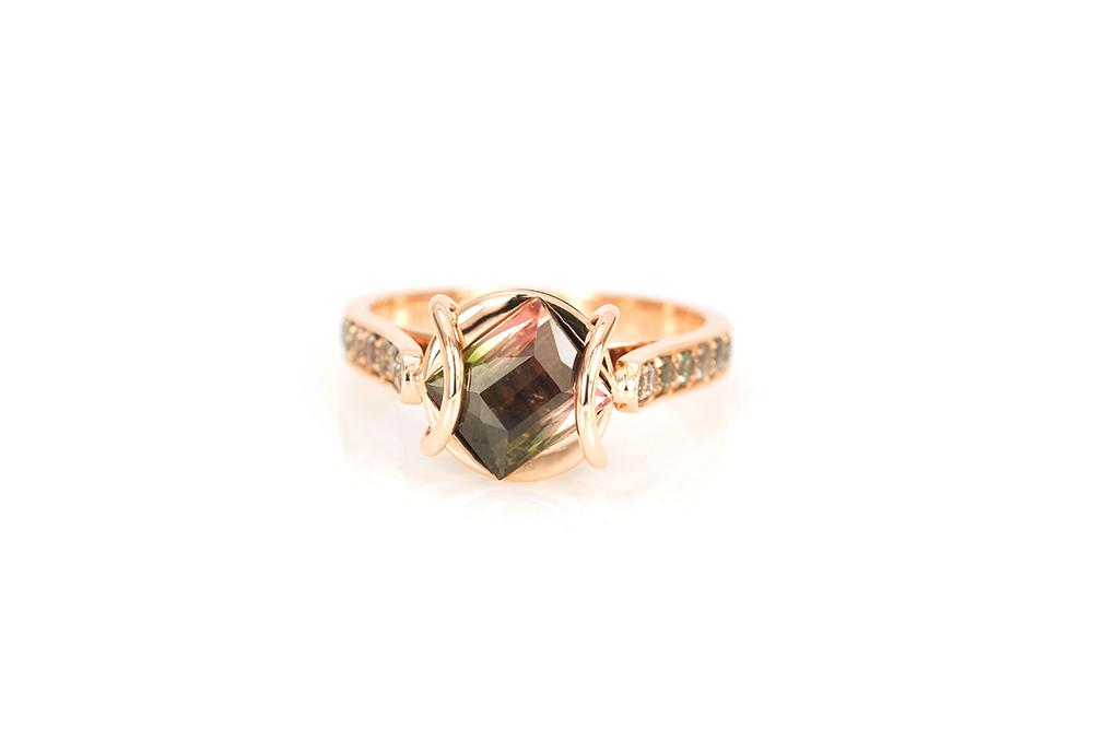 Bague Ellipse, or rouge, diamants, perle et tourmaline 2