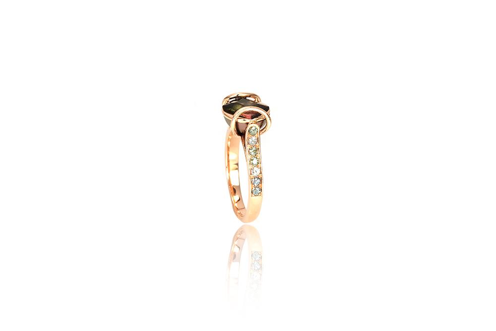 Bague Ellipse, or rouge, diamants, perle et tourmaline 3
