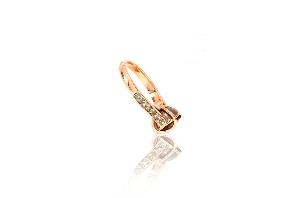 Bague Ellipse, or rouge, diamants, perle et tourmaline 4