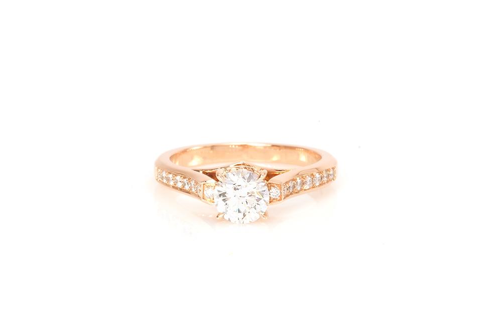 Solitaire Destin, or rouge et diamants 3