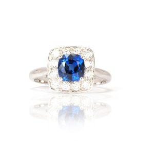 Bague Deep Blue, saphir diamants et or