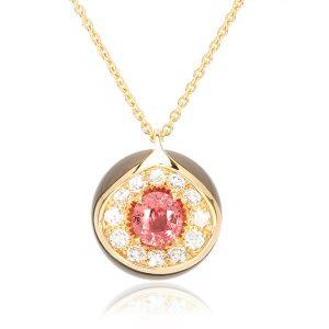 Pendentif Good Mood or, perle diamant et padparacha 1