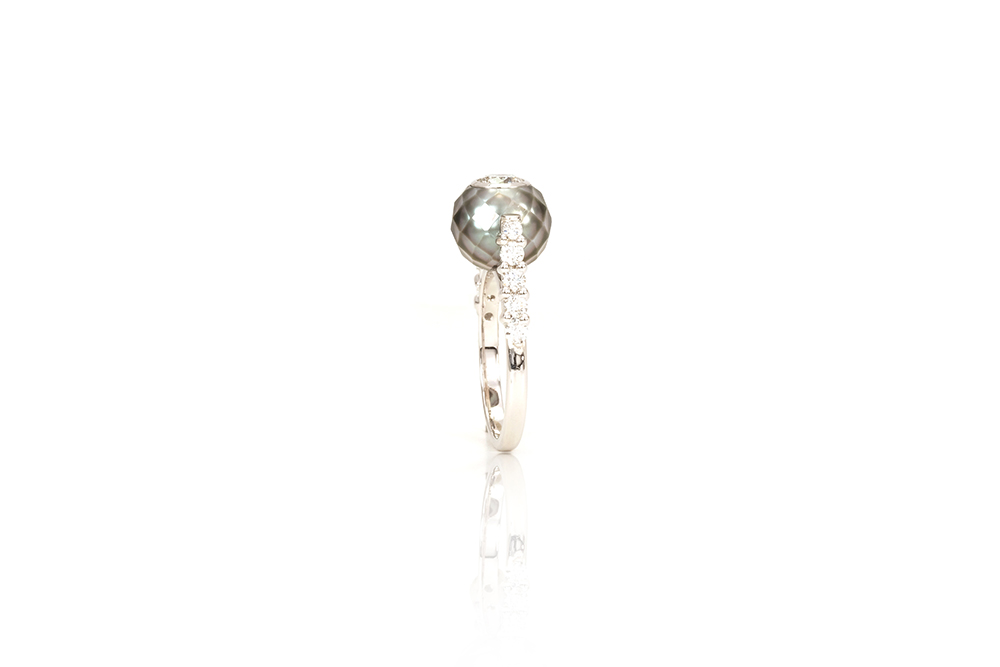 Solitaire Myriade, or, perle et diamants 4