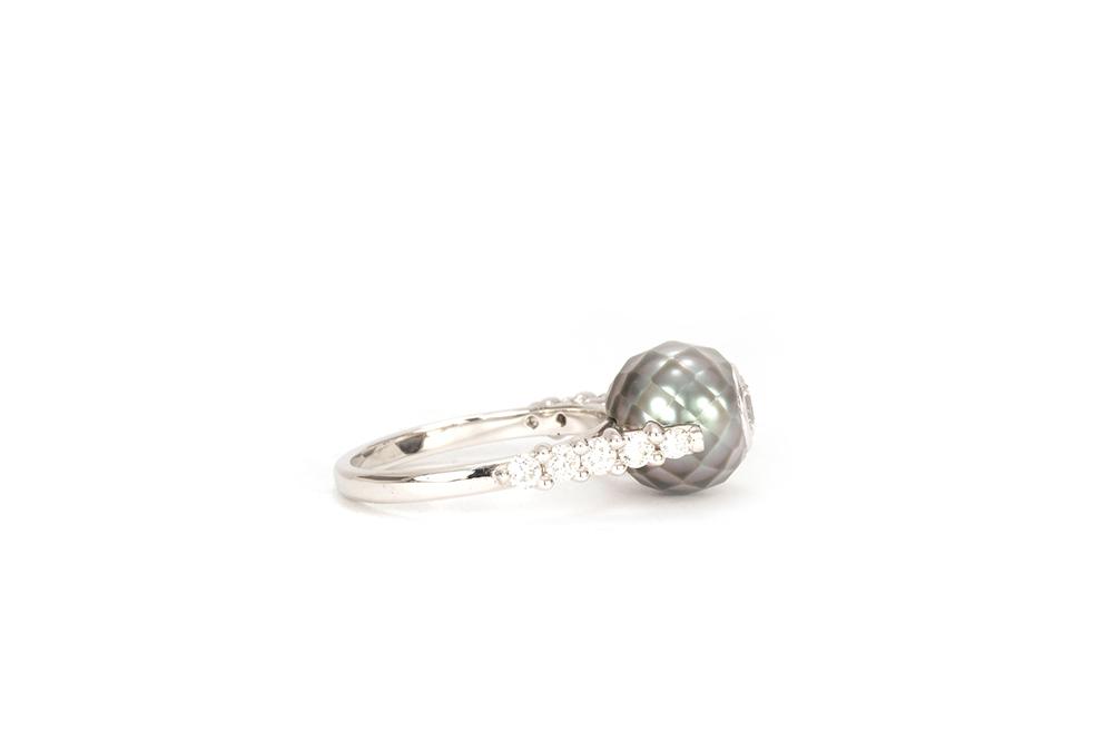 Solitaire Myriade, or, perle et diamants 5