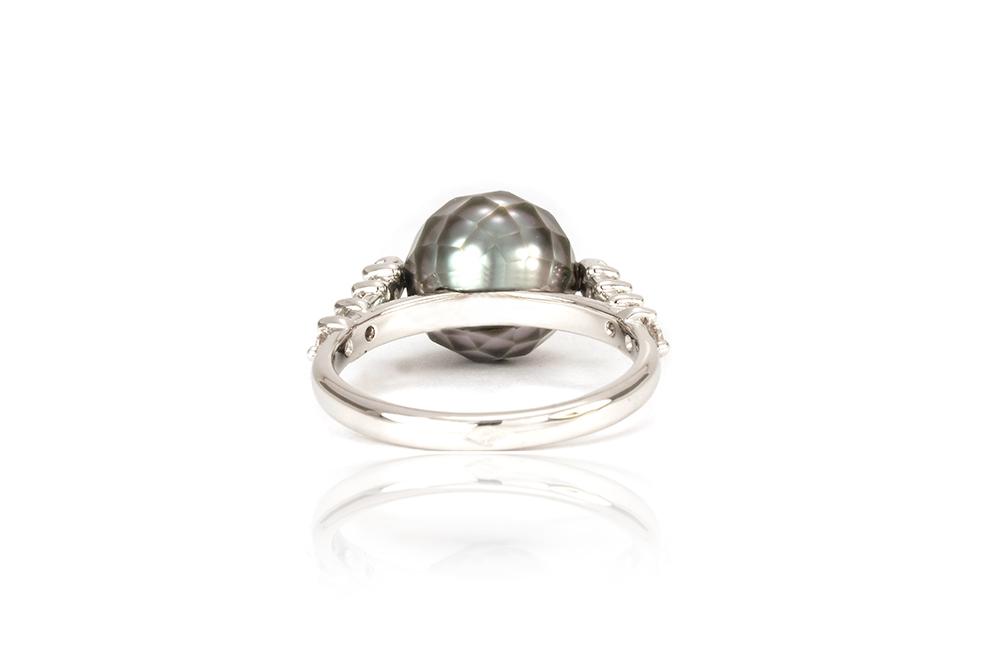 Solitaire Myriade, or, perle et diamants 6